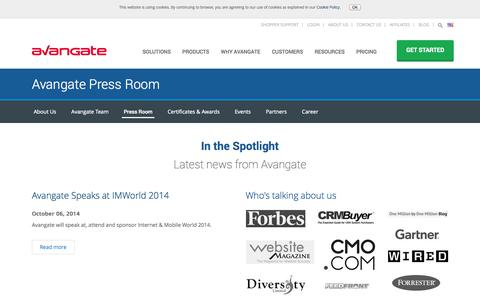 Screenshot of Press Page avangate.com - eCommerce Trends | Latest Software Press and eCommerce News - captured Oct. 10, 2014
