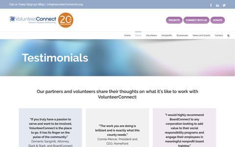 Screenshot of Testimonials Page volunteerconnectnj.org - Testimonials - Volunteer Connect NJ - captured Oct. 18, 2018