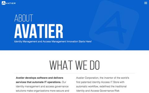 Screenshot of About Page avatier.com - Identity Management | Identity Management Software | Compliance Management Solutions | IT Services | Avatier - captured July 27, 2016