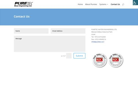 Screenshot of Contact Page puretec.co.il - filtration systems for irrigation water - Puretec water Engineering LTD. - captured Jan. 24, 2020