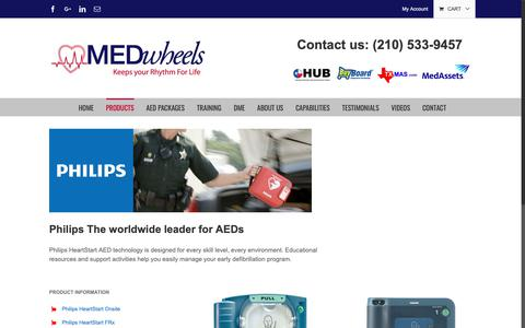 Screenshot of Products Page medwheels.com - Philips – MEDwheels Inc. - captured Oct. 17, 2018