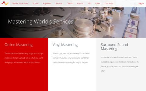 Screenshot of Services Page masteringworld.com - Mastering World's Services - captured May 27, 2017