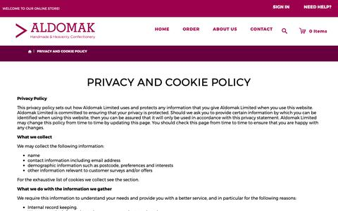 Screenshot of Privacy Page aldomak.co.uk - Privacy and Cookie Policy - captured Oct. 3, 2018