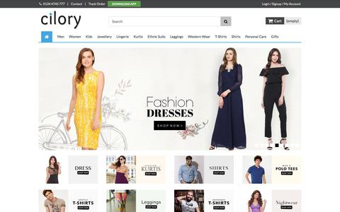 Screenshot of Home Page cilory.com - Online Shopping T-Shirt, Kurtis, Suits, Lingerie, Dress, Clubwear, Fashion Jewellery, Nightwear - Cilory - captured June 20, 2017