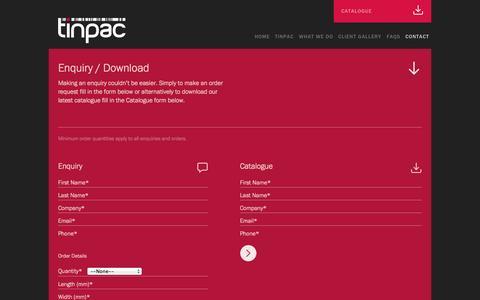Screenshot of Contact Page tinpac.com - TinPac |  » Enquiry / Download - captured Oct. 29, 2014