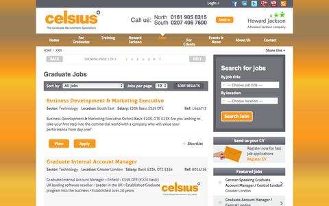 Screenshot of Jobs Page celsiusrecruitment.co.uk - See a range of graduate jobs, graduate sales jobs and graduate sales opportunities here. - captured Oct. 2, 2014