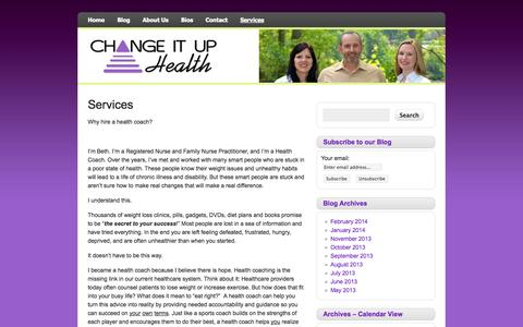 Screenshot of Services Page changeituphealth.com - Services | Change It Up Health - captured Oct. 2, 2014