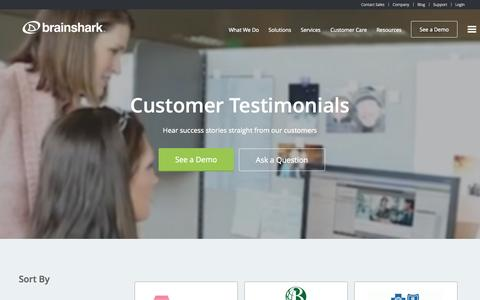 Screenshot of Testimonials Page brainshark.com - Customer Testimonials & Success Stories | Brainshark - captured Oct. 30, 2014