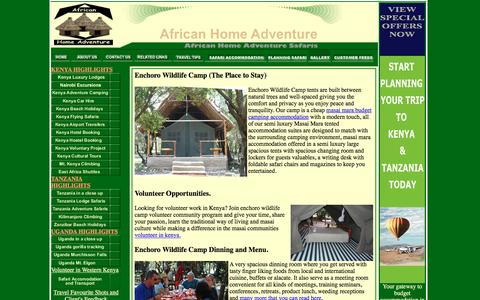 Screenshot of Press Page africahomeadventure.com - Masai Mara Accommodation|Masai Mara Tented Camps|Tented Accommodation - captured Aug. 26, 2016