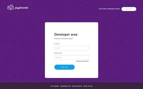 Screenshot of Login Page joysticket.com - Joysticket - captured Sept. 20, 2018