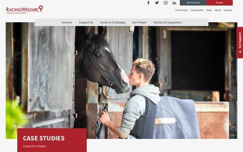 Screenshot of Case Studies Page racingwelfare.co.uk - Case Studies Archive - Racing Welfare - captured Oct. 19, 2018