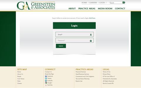 Screenshot of Login Page greenstein-law.com - Login - captured Oct. 6, 2014