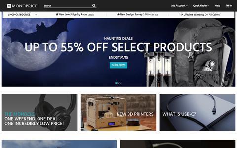 Screenshot of Home Page monoprice.com captured Nov. 1, 2015