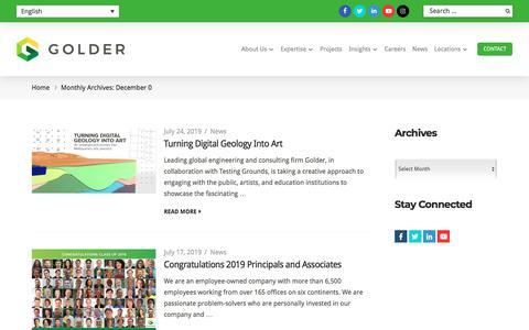 Screenshot of Press Page golder.com - News Archive | Golder - captured Aug. 4, 2019