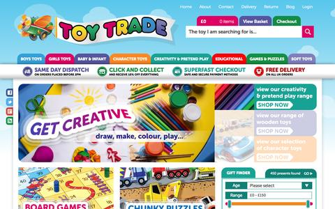 Screenshot of Home Page toytradeltd.co.uk - Toy Trade - 1000's Of Children's Toys By Leading Brands - captured Oct. 7, 2014