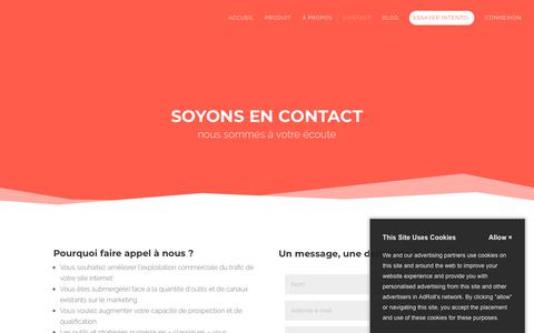 Screenshot of Contact Page intento.io - Contact • intento› - captured July 9, 2018