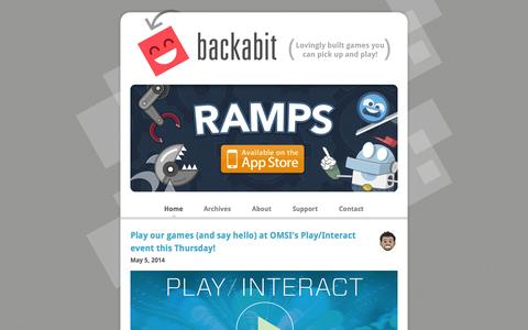 Screenshot of Home Page backabit.com - Backabit – Lovingly built games you can pick up and play! - captured Sept. 30, 2014