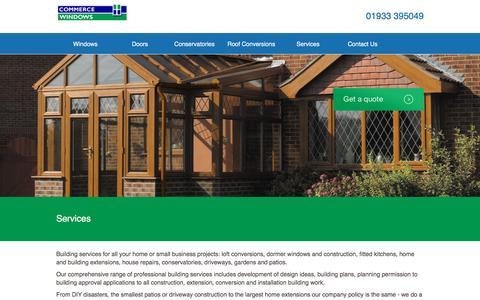 Screenshot of Services Page commercewindows.co.uk - Building Services | House Extensions Rushden - captured Nov. 10, 2016