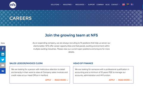Screenshot of Jobs Page nfs-hospitality.com - Check Career opportunities with NFS Hospitality - captured Oct. 21, 2017