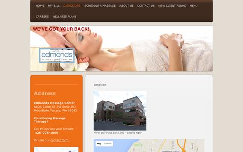 Screenshot of Maps & Directions Page edmondsmassage.com - Edmonds Massage Center - Directions - captured March 11, 2016