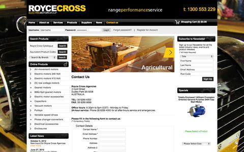Screenshot of Contact Page roycecross.com.au - Contact Us - Royce Cross Agencies - captured Oct. 1, 2014