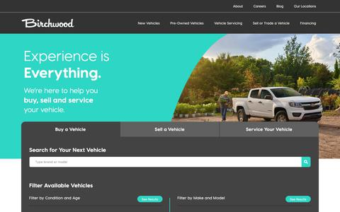 Screenshot of Home Page birchwood.ca - New & Used Cars, Trucks, and SUVs | Birchwood Automotive Group - captured July 31, 2019