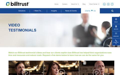 Screenshot of Testimonials Page billtrust.com - Client Testimonials | Billtrust - captured Jan. 6, 2017