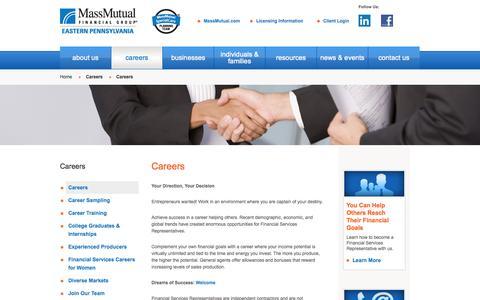 Screenshot of Jobs Page massmutual.com - Careers  | MassMutual Eastern Pennsylvania Agency - captured Oct. 27, 2014