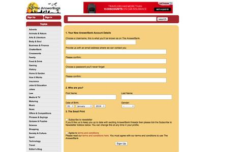 Screenshot of Signup Page theanswerbank.co.uk - Sign Up To The AnswerBank - captured Oct. 30, 2014