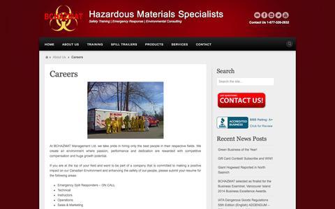 Screenshot of Jobs Page bchazmat.com - Careers - BCHAZMAT Management Ltd. - captured Nov. 2, 2014