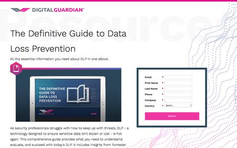 Screenshot of Landing Page digitalguardian.com - The Definitive Guide to Data Loss Prevention - captured Dec. 27, 2017
