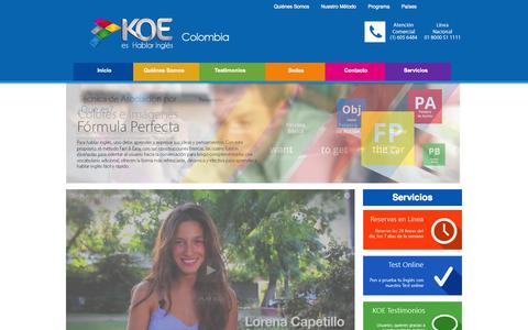 Screenshot of Home Page koe.com.co - KOE - Hablar ingles - Ingles virtual presencial desescolarizado - Estudiar ingles - captured Sept. 30, 2014