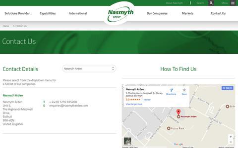 Screenshot of Contact Page nasmythgroup.com - Contact Us | Nasmyth - captured Nov. 15, 2017