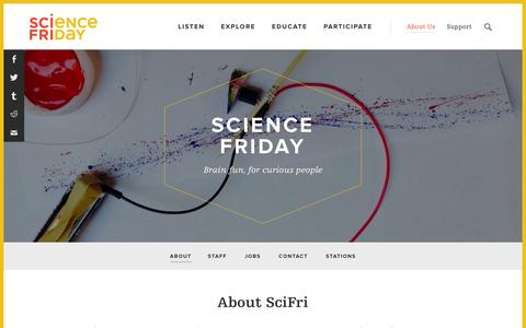 Screenshot of About Page sciencefriday.com - About - Science Friday - captured Dec. 19, 2015