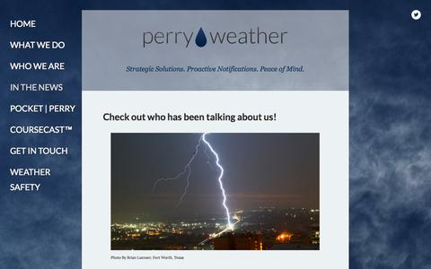 Screenshot of Press Page perryweather.com - In The News — Perry Weather Consulting - captured Oct. 1, 2014