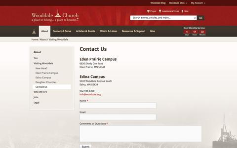 Screenshot of Contact Page wooddale.org - Contact Us | Wooddale Church - captured Oct. 7, 2014