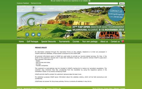 Screenshot of Privacy Page ingolf.pt - Privacy Policy | InGolf - Golf in Portugal :: Portugal Golf Packages - captured Oct. 6, 2014