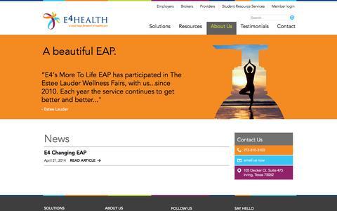 Screenshot of Press Page e4healthinc.com - News | - captured Oct. 28, 2014