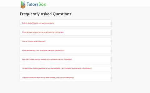 Screenshot of FAQ Page tutorsbox.com - Frequently Asked Questions - captured Sept. 23, 2014