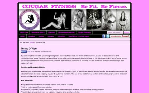 Screenshot of Terms Page cougarfitnessclub.com - Terms Of Use | COUGARFITNESS® - captured Nov. 2, 2014