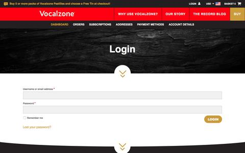 Screenshot of Login Page vocalzone.com - My Account - Vocalzone - captured Oct. 17, 2017