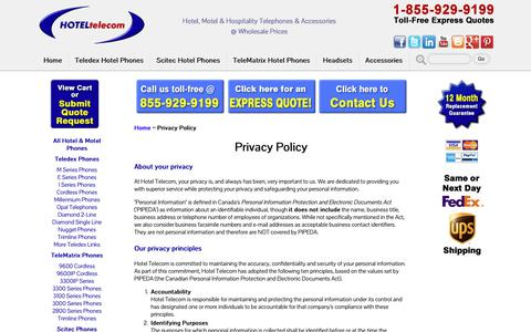 Screenshot of Privacy Page hoteltele.com - Hotel Telecom Privacy Policy - captured Oct. 28, 2018