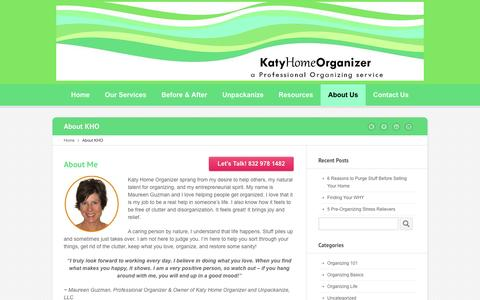 Screenshot of About Page katyhomeorganizer.com - About Katy Home Organizer | Houston Home Organization Service - captured Jan. 9, 2016