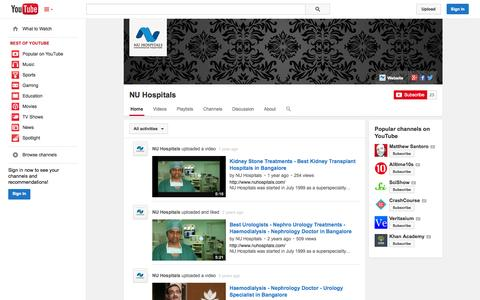 Screenshot of YouTube Page youtube.com - NU Hospitals  - YouTube - captured Oct. 26, 2014