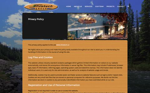 Screenshot of Privacy Page silvatech.ca - Privacy Policy – Silvatech Group - captured Oct. 21, 2017