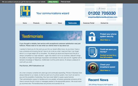Screenshot of Testimonials Page phones4business.com - Testimonials | - captured Sept. 29, 2014