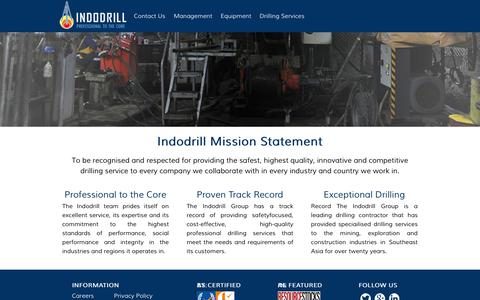 Screenshot of Home Page Site Map Page indodrill.com - Home - captured Oct. 11, 2018