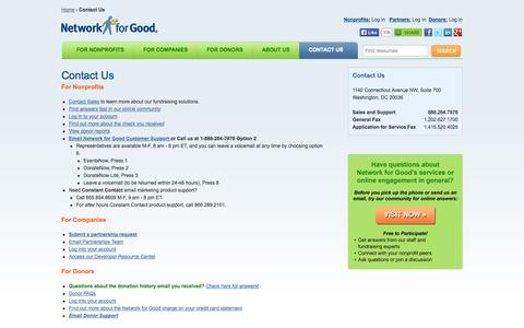 Screenshot of Contact Page networkforgood.org - Contact Us | Network for Good - captured Sept. 16, 2014