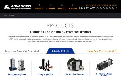 Screenshot of Products Page ame.com - Products | Advanced Machine & Engineering Co. - captured Sept. 24, 2018