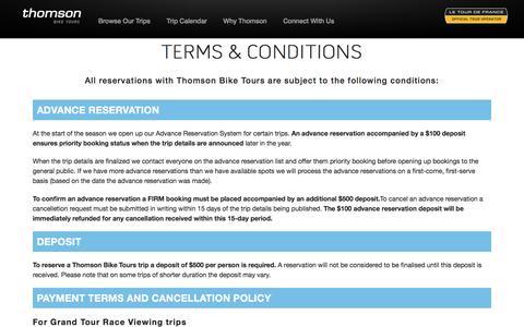 Screenshot of Terms Page thomsonbiketours.com - Thomson Bike Tours > terms & conditions - captured Dec. 23, 2016